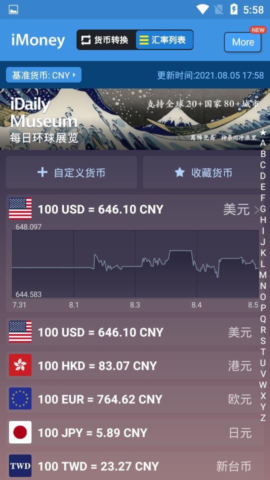 iMoney(匯率換算軟件)圖4